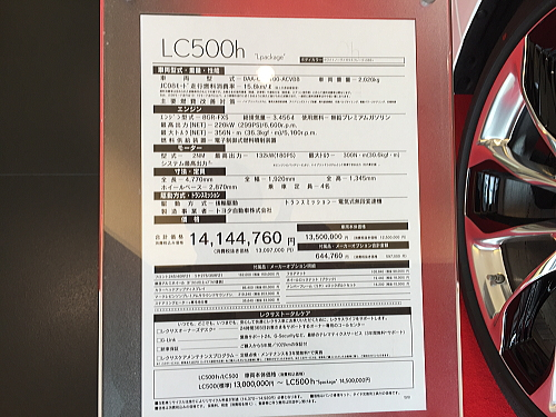 LC 展示車価格ボード