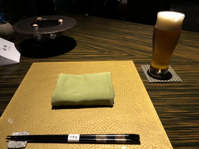 エクシブ湯河原の夕食。生ビール