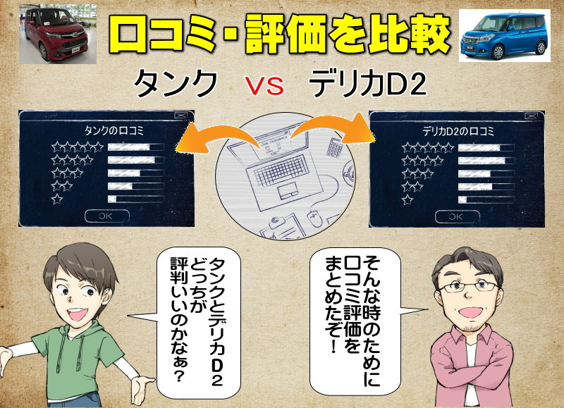 タンクとデリカD2の口コミの比較・評価