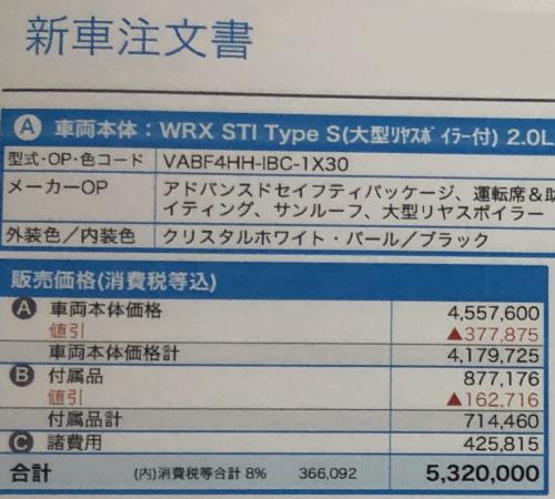 スバルWRX STIの値引き